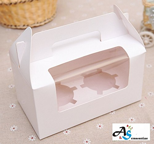 A&S Creavention Cupcake Container Boxes Togo Carriers (White, 2 Holders)
