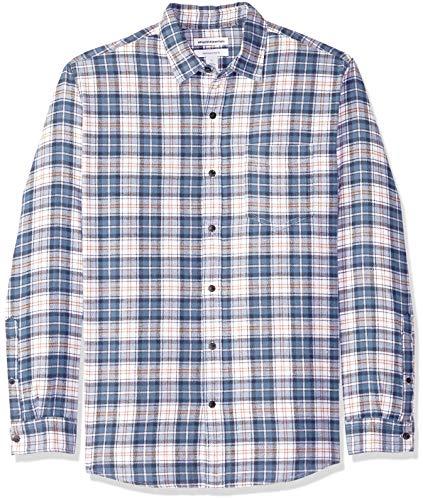 Amazon Essentials Herren Flanellhemd, Blue/White Plaid, Large