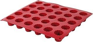 Crealys 513107 Moule à Cannelés Silicone Rouge