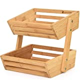 Golden Nature Bamboo Fruit Basket  2 Tier Fruit Stand for Kitchen Countertop  Fruit Holder For Kitchen  Perfect for Vegetables, Produce, Home Storage and Display