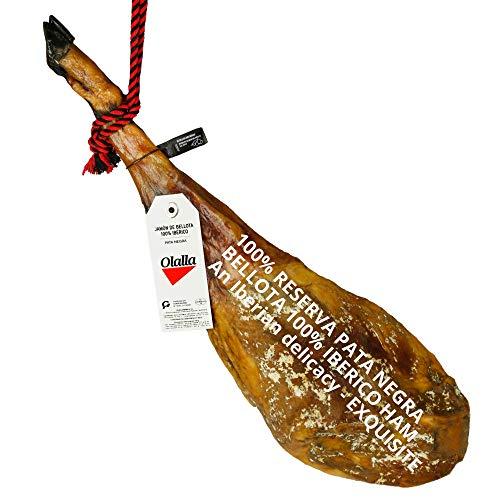 Jamon de Bellota 100% Iberico Reserva Pata Negra - Pieza Tradicional Completa 7.5 - 8 KG - Color Rosado Rojo Intenso - Ligeramente Dulce y Aromático - Olor Inconfundible