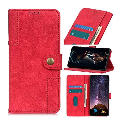 TOPOFU Funda para Xiaomi Redmi Note 10 5G,Funda Libro Cuero Carcasa con [Cierre Magnético] [Ranuras para Tarjetas],Estilo Retro Premium Flip Folio Cover Case,PU/TPU-Rojo