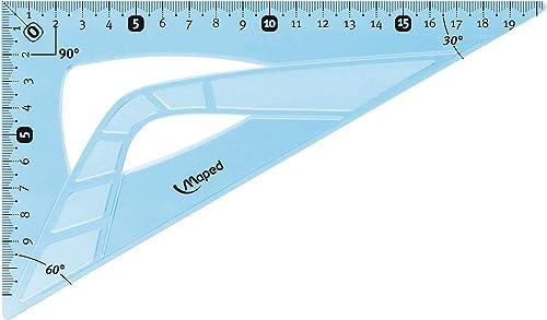 Maped - Équerre Incassable - Équerre 60° grand côté 21 cm - Toucher Soft - Équerre Scolaire Astucieuse avec 0 dans l'...