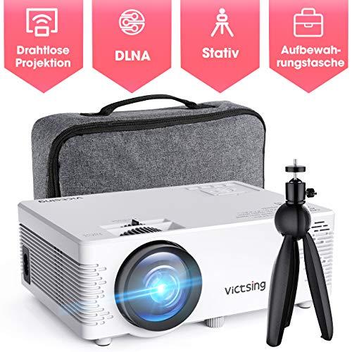 Mini Beamer,VicTsing Full HD 4500 Lumen WiFi&Bluetooth LED Projektor, 1080P HD 170 '' Display 40000 Stunden, Wireless Video Beamer Kompatibel mit Smartphone, TV Stick, HDMI, VGA, SD, AV, USB
