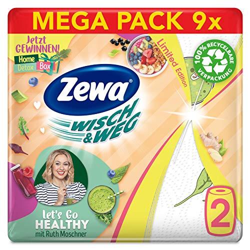Zewa WischundWeg Fun Design Küchenrolle, Mega Pack, 9 Packungen (18 Rollen x 72 Blatt)