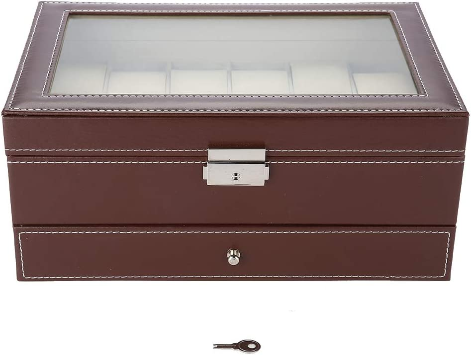 Watch Storage Super sale Case Double Detroit Mall Layers 12 Leather Stor PU Slots