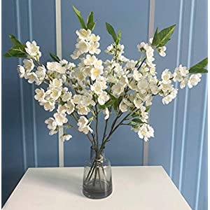 6 Pcs Artificial Cherry Blossom Branches Peach Blossom Stems Silk Short Fake Flower Arrangements for Home Wedding Decoration, 20 Inch