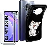 """HYMY Cover per Xiaomi Mi 10T Lite 5G Custodia (6.67"""") + 2X Pellicola Protettiva - Morbida Black Silicone Bumper Case TPU Protettivo Copertura Custodia 9H Vetro temperato, Cartoon Cat"""