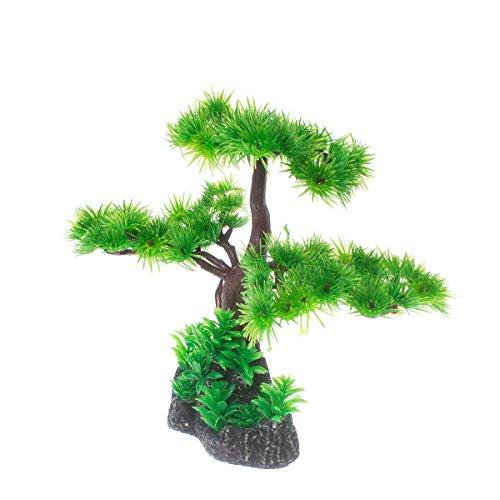 Saim Artificial Pine Tree Plastic Plant Decor for Aquarium Fish Tank Bonsai Ornament Red Green 7' Height