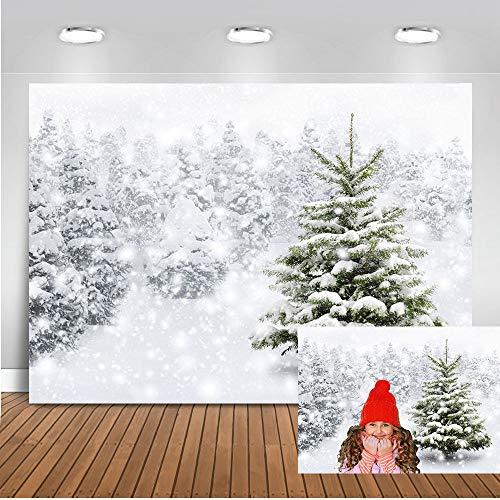 Telón de fondo de bosque de invierno de Mehofoto 7x5 pies Vinilo Blanco nieve Verde Pino Fondo de Navidad Nieve congelada Fotografía Telones de fondo