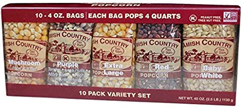 Amish Country Popcorn | 10 - 4 oz Bags | Popcorn Kernel Variety Pack | 10 Pack Assorted Varieties | Old Fashioned, Non GMO...