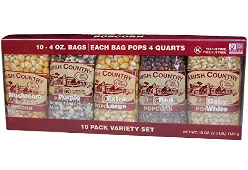 Amish Country Popcorn | 10 - 4 oz Bags | Popcorn Kernel Variety Pack | 10 Pack Assorted Varieties | Old Fashioned, Non GMO, Gluten Free, Microwaveable and Kosher with Recipe Guide (10 - 4 oz Bags)