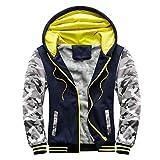 GDJGTA Men's Pullover Workout Fleece Hoodie Jackets Winter Full Zip Wool Warm Thick Coats Hooded Jacket Sweatshirt Outwear Dark Blue