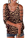 LEIYEE Womens Leopard Print Cold Shoulder Tops Summer 3/4 Sleeve T Shirt Pullover Casual Dolman Blouses