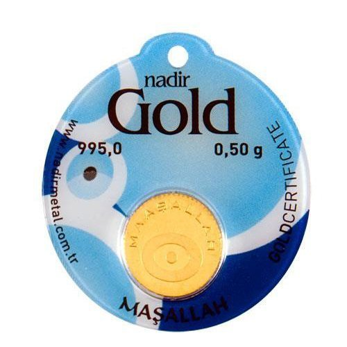 Nadir Rundbarren Goldbarren Goldgeschenke für Beschneidungfest,Masallah 0,5 Gramm mit Geschenkbeutel
