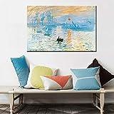 YuanMinglu Célèbre Peinture sur Toile Abstraite Lever du Soleil numérique Art Affiche Mur Photo décoration de la Maison Peinture sans cadre50x75 cm