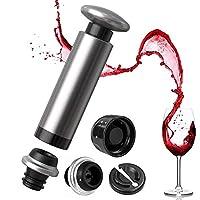 Siivton ワインセーバー 真空ポンプセット ワインストッパー付き ステンレススチール (シルバーとストッパー2個)