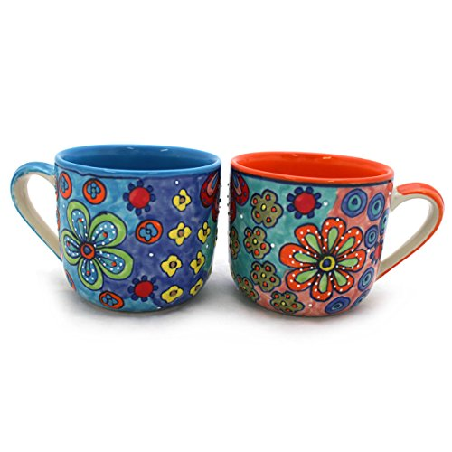 Gall&Zick XXL Tasse Kaffeetasse Teetasse Geschirr Keramik Bemalt Bunt Groß Set/2