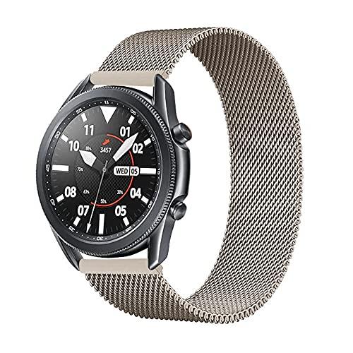 BINGHC Correa Reloj, Banda Aplicar a Samsung Galaxy Watch 3 45mm / Activo 2 / 46mm / 42mm Gear S3 Frontier 20mm 22mm Correa de Pulsera (Color : Vintage Gold, Size : 22mm)