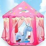 Fivejoy Unicorn Kinderspielzelt Mädchen Kinder Zelt, Princess Castle Spielzelt Für Kinder Mit 2 Modes Sternenlicht, Prinzessin Zelt Innen & Draussen - Weihnachten, Geschenk Für Kinder ( Rosa )