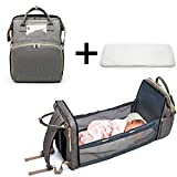 Baby Wickeltasche Rucksack Reisebett Baby Wickelrucksack mit Wickelunterlage Multifunktional Oxford Wasserdichte Große KapazitätReiserucksack für Mama und Papa(0-12M)