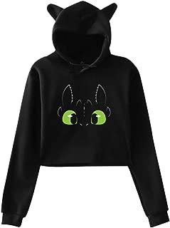 Toothless Dragon Women's Cat Ear Hoodie Short Sweatshirt Crop Top