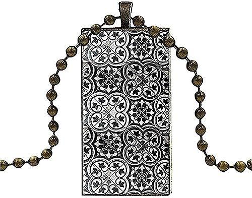 BEISUOSIBYW Co.,Ltd Halsketten Frauen Männer Party Geschenk Halskette Lange Kette Mit Rechteck Halskette Schmuck Marokko Art Deco Fliesen Karte Geschenk