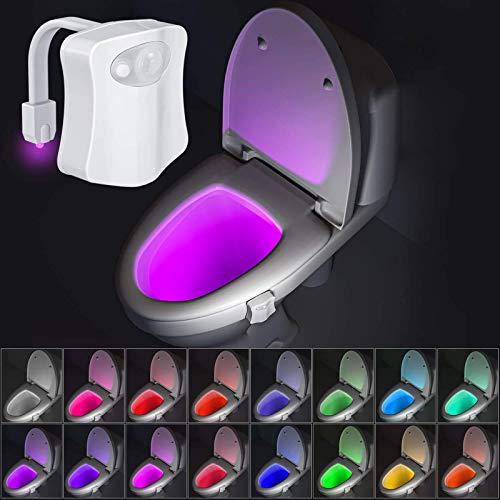 Beanlieve 16 Farbige Toiletten Nachtlicht - Badezimmer WC Automatische Bewegungssensorlicht, Leuchtendes Toiletten-Nachtlicht Passt In Jede Toilette