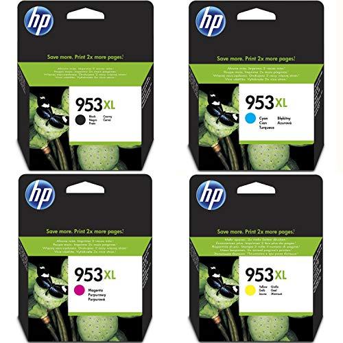 Hewlett Packard HP originale 953XL cartuccia 4er Set nero, cyan, magenta, giallo hohe Kapazität (L0S70AE, F6U16AE, F6U17AE, F6U18AE
