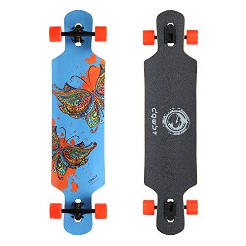 DGWBT Bamboo 41 inch Drop Through Longboard Skateboard Complete Blue Maple