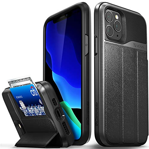 Vena vCommute Wallet Case Compatible with Apple iPhone 11 Pro (5.8'-inch 2019), (Military Grade Drop Protection) Flip Leather Cover Card Slot Holder with Kickstand - Space Gray