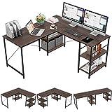 Bestier 95.5'L-shaped Desk with Storage Shelves,Adjustable 2 Person Desk L- shaped Corner Computer desk Extra Long Desk with Shelves,Multi-Usage Large Tables Desk for Home Office Gaming Study (Brown)