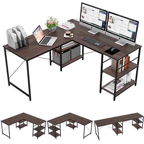 "Bestier 95.5""L-shaped Desk with Storage Shelves,Adjustable 2 Person Desk L- shaped Corner Computer desk Extra Long Desk with Shelves,Multi-Usage Large Tables Desk for Home Office Gaming Study (Brown)"