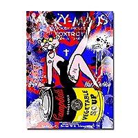キャンバスのポスター、壁画、カラフルなグラフィティアートセクシーな女性のキャンバスのポスターとプリントリビングルームの壁のアート絵画に現代のストリートアートの絵画-フレームレス40x60_A