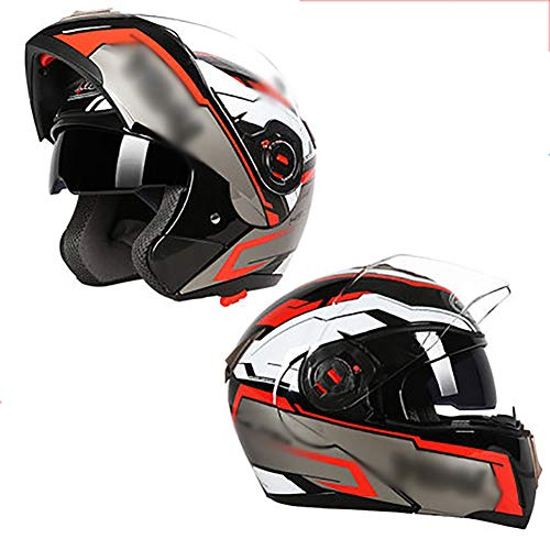 YXDDG Motorhelm Flip Up Dual vizier Full Face helm met afneembare winter halsdoek, dual vizier zonneklep omhoog klappen X-Large L