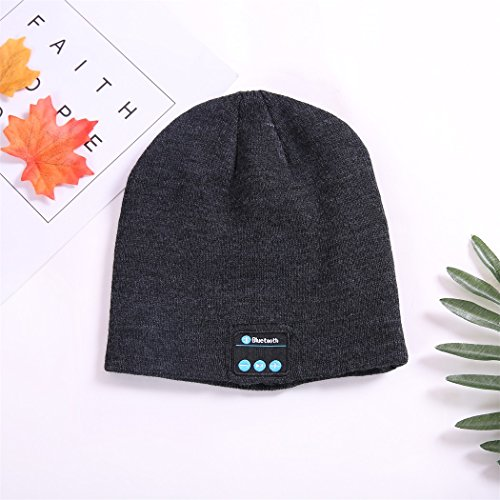 AiiGoo Wireless Bluetooth Beanie Hat For Women&Men Outdoor Sport Knit Hat Fashion Washable with Wireless Rechargeable Removal Earpiece for Audio Listening Music for,iPhone, iPad, Android (Deep Grey)