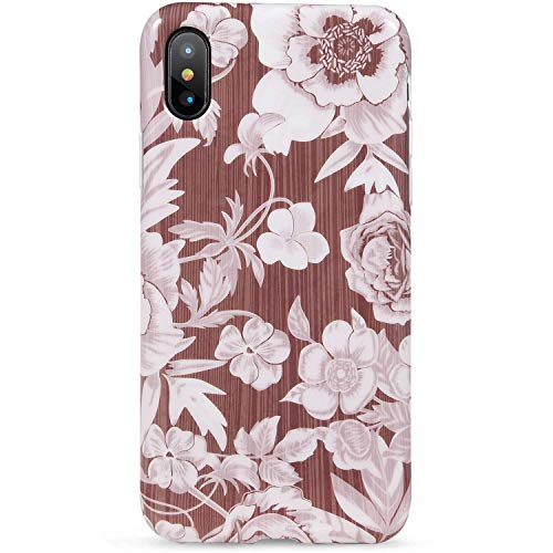 """iPhone Xs Max Case,LUMARKE Cute Wood Floral for Women Girls,Slim-Fit Matte TPU Clear Bumper Soft Rubber Silicone Best Protective Thin Cover Fashion Phone Case for iPhone Xs Max [6.5""""]#16"""