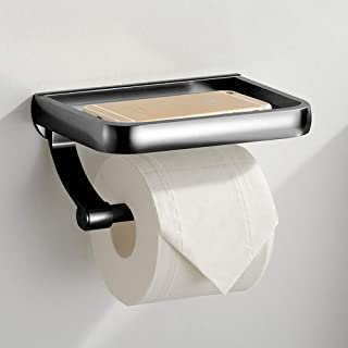 KAIYING Soporte de papel higiénico autoadhesivo con estante para teléfono, accesorios de baño de aluminio Dispensador de r...