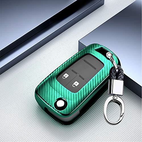 ontto Autoschlüssel Hülle Cover für Opel Vauxhall Astra Corsa Insignia Karl Mokka Zafira Chevrolet Aveo Spark Schlüsselhülle mit Schlüsselanhänger Weiche TPU Schlüssel Schutz Etui Case 2 Taste-Grün