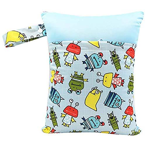 Monbedos baby kleine kinderen waterdichte ritssluiting, herbruikbare luiertas, Colorblock luiertas 30 * 37cm lichtblauw
