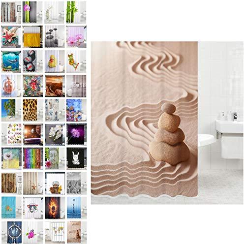 Sanilo Duschvorhang, viele schöne Duschvorhänge zur Auswahl, hochwertige Qualität, inkl. 12 Ringe, wasserdicht, Anti-Schimmel-Effekt (Zen, 180 x 200 cm)