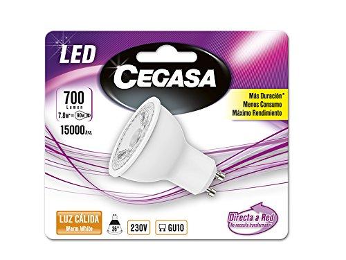 Cegasa Bombillas LED 2700K GU10, 7.8 W, Blanco, 57x50x50 cm