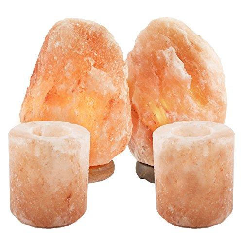 Natural Himalayan Salt Lamp w/Salt Candle Holders