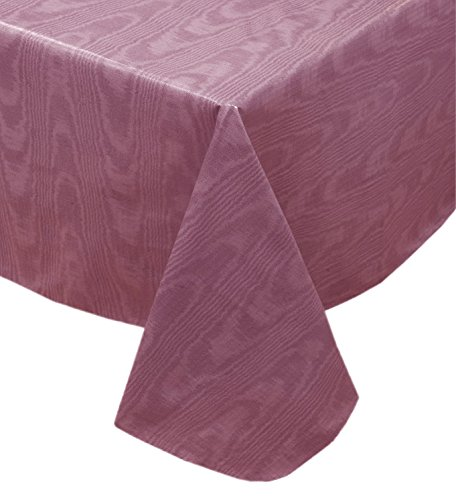 Newbridge Burgundy Moire Wavy Solid Color Print Heavy Gauge Vinyl Flannel Backed Tablecloth, Indoor/Outdoor Tablecloth, (60 Inch x 84 Inch Oval)