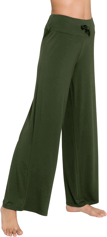 WiWi Women's Bamboo Lounge Wide Leg Pants Stretchy Casual Bottoms Soft Pajama Pant Plus Size Sleepwear S-4X