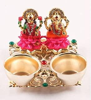 Nobility Lakshmi ganesh haldi kumkum holder Gold Plated Pooja & Thali Set