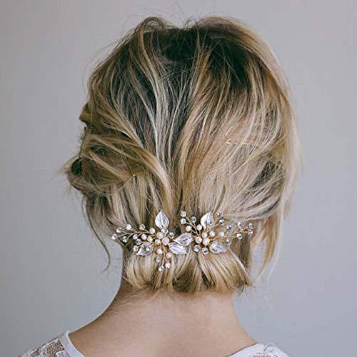 Simsly Horquillas para el pelo de boda con hojas doradas para novias y damas de honor (dorado/paquete de 2)