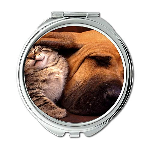 Yanteng Spiegel, Schminkspiegel, Hipster Dog Wear Farbe niedlichen Hund, Taschenspiegel, 1 X 2X Lupe