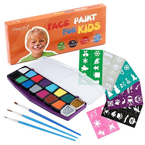 Face Paint Kit, Magicfly 16 Colors 50 Stentils Water-Based Face & Body Painting Set with 3 Assorted Paint Brushes, Non-Toxic, FDA-Compliant Christmas Face Paint for Kids & Adult, Party, Carnival