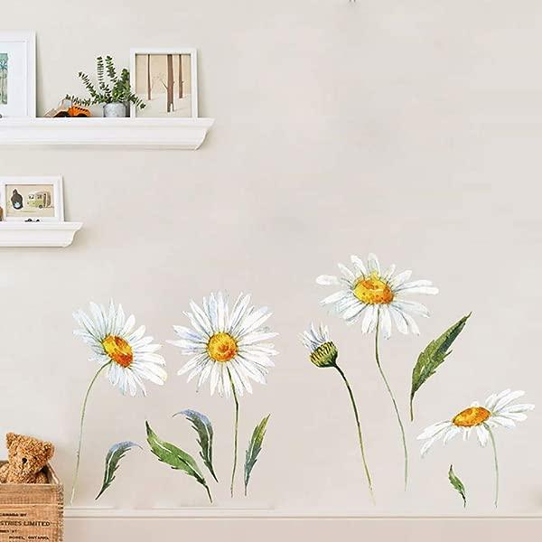 雏菊墙贴可移除花卉墙贴花卧室客厅墙壁艺术装饰白色